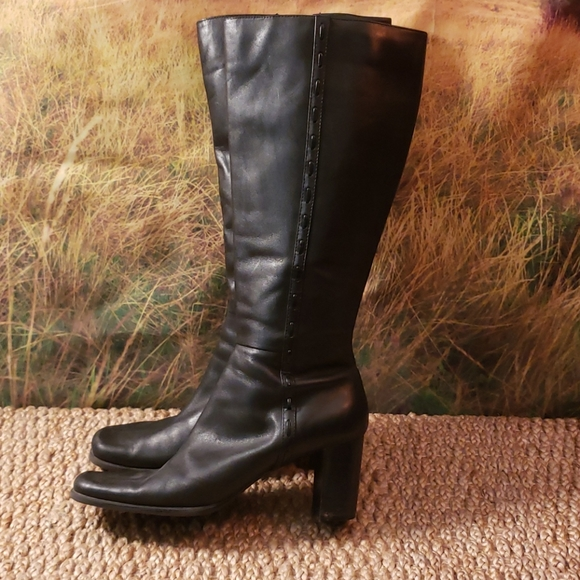 Black Leather Dress Boots Size 10